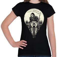 PRINTFASHION Kaszás motoron - Női póló - Fekete
