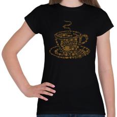 PRINTFASHION Kávés csésze - Női póló - Fekete
