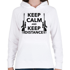 PRINTFASHION Keep calm and keep distance - Női kapucnis pulóver - Fehér