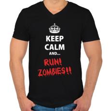 PRINTFASHION Keep calm and RUN! Zombies!! - Férfi V-nyakú póló - Fekete