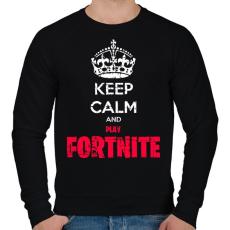 PRINTFASHION Keep Calm Fortnite - Férfi pulóver - Fekete