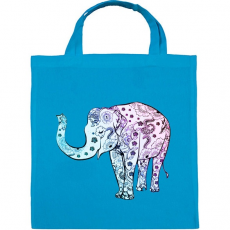 PRINTFASHION Kék virágos elefánt - Vászontáska - Kék