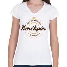 PRINTFASHION kerekpar-brown-orange - Női V-nyakú póló - Fehér