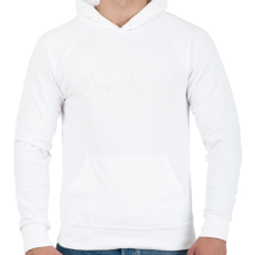 PRINTFASHION kerekpar-white - Férfi kapucnis pulóver - Fehér
