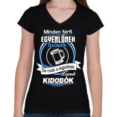 PRINTFASHION Kidobó - Női V-nyakú póló - Fekete