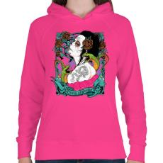 PRINTFASHION Kígyókirálynő - Női kapucnis pulóver - Fukszia