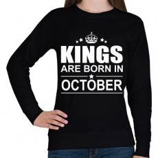PRINTFASHION Kings are born in October - Női pulóver - Fekete