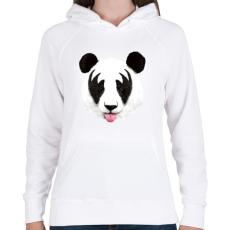 PRINTFASHION Kiss of a panda - Női kapucnis pulóver - Fehér