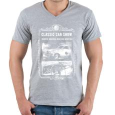 PRINTFASHION Klasszikus autók - Férfi V-nyakú póló - Sport szürke