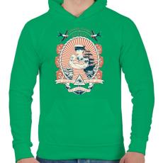 PRINTFASHION Klasszikus tengerész tetoválás - Férfi kapucnis pulóver - Zöld