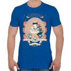 PRINTFASHION Klasszikus tengerész tetoválás - Férfi póló - Királykék
