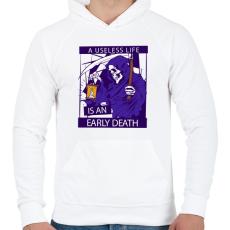 PRINTFASHION Könnyű halál - Férfi kapucnis pulóver - Fehér