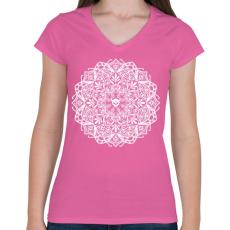 PRINTFASHION Koponyás mandala - Női V-nyakú póló - Rózsaszín