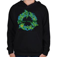 PRINTFASHION Körforgás - Gyerek kapucnis pulóver - Fekete