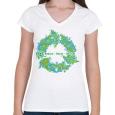 PRINTFASHION Körforgás - Női V-nyakú póló - Fehér