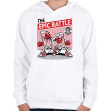 PRINTFASHION Korrekt csata - Gyerek kapucnis pulóver - Fehér