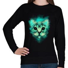 PRINTFASHION Kozmosz macska - Női pulóver - Fekete