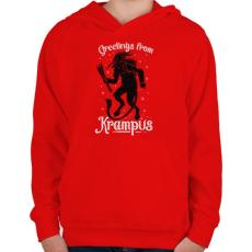 PRINTFASHION Krampusz - Gyerek kapucnis pulóver - Piros