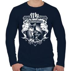 PRINTFASHION Kutyabarát - Férfi hosszú ujjú póló - Sötétkék