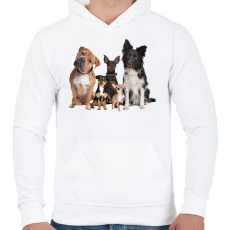 PRINTFASHION Kutyák - Férfi kapucnis pulóver - Fehér
