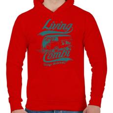 PRINTFASHION Lakókocsi - Férfi kapucnis pulóver - Piros