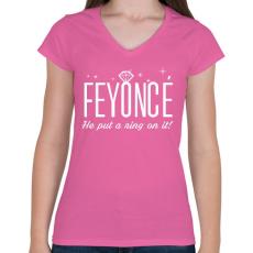 PRINTFASHION Lánybúcsú - FEYONCÉ - Női V-nyakú póló - Rózsaszín