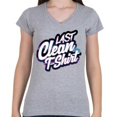 PRINTFASHION Last clean t-shirt - Női V-nyakú póló - Sport szürke