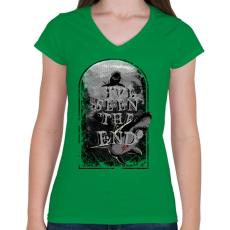 PRINTFASHION Látod a végét - Női V-nyakú póló - Zöld