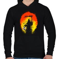 PRINTFASHION Látogatás - Férfi kapucnis pulóver - Fekete