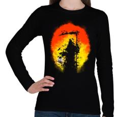 PRINTFASHION Látogatás - Női hosszú ujjú póló - Fekete