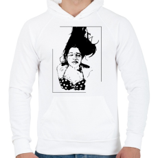 PRINTFASHION Lebegés - Férfi kapucnis pulóver - Fehér
