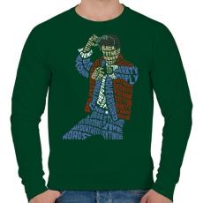 PRINTFASHION Légdeszkás - Férfi pulóver - Sötétzöld