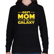PRINTFASHION Legjobb anya a Galaxisban - Női kapucnis pulóver - Fekete