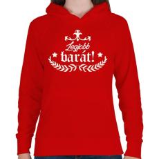 PRINTFASHION Legjobb barát - Női kapucnis pulóver - Piros