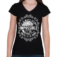 PRINTFASHION Lehetetlen - fehér szöveg - Női V-nyakú póló - Fekete