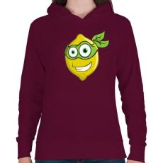 PRINTFASHION Lemon Hero - Női kapucnis pulóver - Bordó