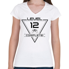 PRINTFASHION level-complete-12-black - Női V-nyakú póló - Fehér