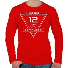 PRINTFASHION level-complete-12-white - Férfi hosszú ujjú póló - Piros