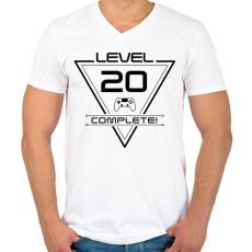 PRINTFASHION level-complete-20-black - Férfi V-nyakú póló - Fehér