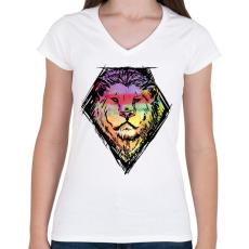 PRINTFASHION Liony - Női V-nyakú póló - Fehér