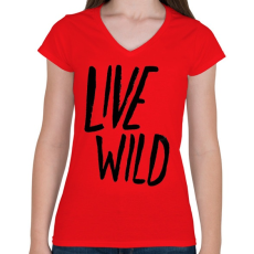 PRINTFASHION Live Wild - Női V-nyakú póló - Piros