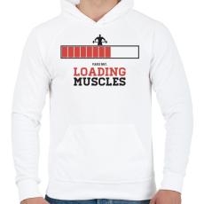 PRINTFASHION Loading Muscles - Férfi kapucnis pulóver - Fehér