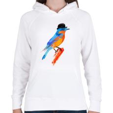 PRINTFASHION Lord bird - Női kapucnis pulóver - Fehér