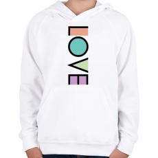 PRINTFASHION LOVE - Gyerek kapucnis pulóver - Fehér