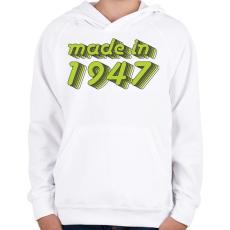 PRINTFASHION made-in-1947-green-grey - Gyerek kapucnis pulóver - Fehér