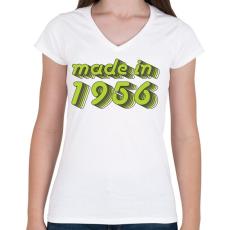 PRINTFASHION made-in-1956-green-grey - Női V-nyakú póló - Fehér
