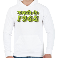 PRINTFASHION made-in-1965-green-grey - Férfi kapucnis pulóver - Fehér