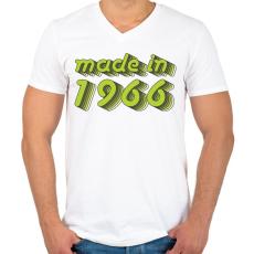 PRINTFASHION made-in-1966-green-grey - Férfi V-nyakú póló - Fehér