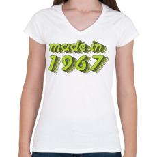 PRINTFASHION made-in-1967-green-grey - Női V-nyakú póló - Fehér