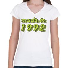 PRINTFASHION made-in-1992-green-grey - Női V-nyakú póló - Fehér